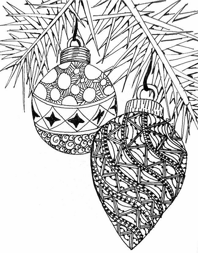 Free coloring and drawings Adult Christmas Balls Coloring page