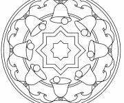 Free coloring and drawings Christmas Bell Mandala Coloring page