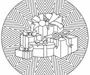 Free coloring and drawings Christmas Mandala Gifts Coloring page