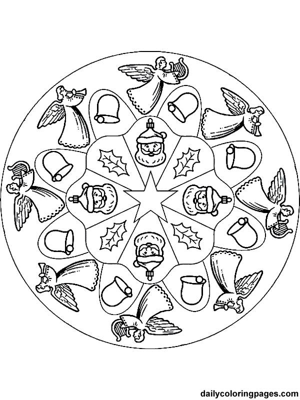 Free coloring and drawings Christmas Mandala in color Coloring page