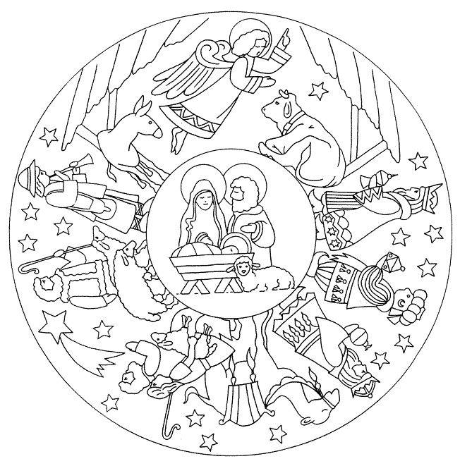 Free coloring and drawings Jesus Flake Mandala Coloring page