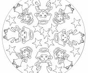 Free coloring and drawings Mandala christmas angel Coloring page
