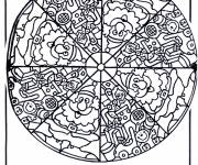 Free coloring and drawings Santa Claus Mandala Coloring page