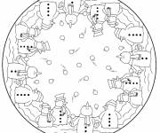 Free coloring and drawings Snowman Mandala Coloring page