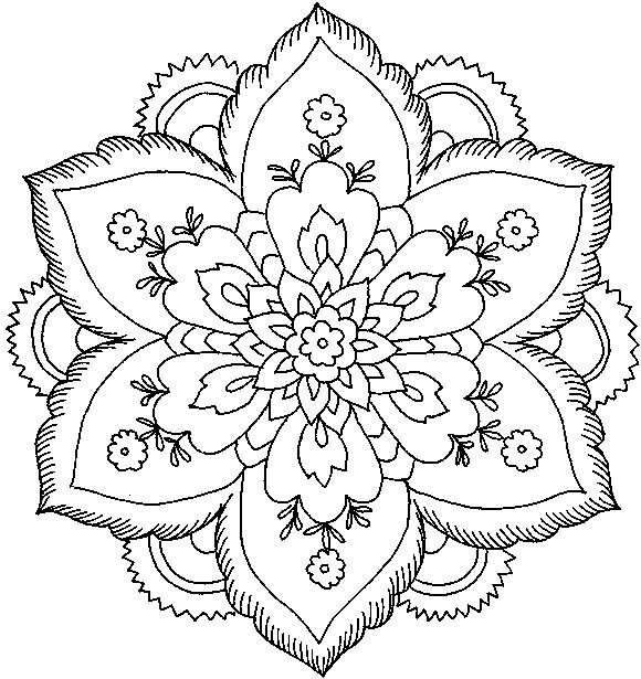 Free coloring and drawings Artistic Flower Mandala easy Coloring page