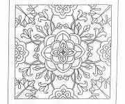 Free coloring and drawings Destressing Flowers Mandala in Black Coloring page