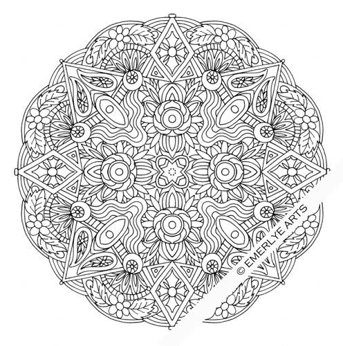 Free coloring and drawings Flower Mandala difficult to print Coloring page