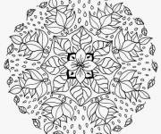 Free coloring and drawings Flower Mandala in Winter Coloring page