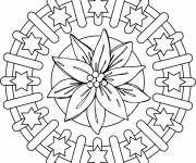 Free coloring and drawings Flowers and Stars Mandala Coloring page
