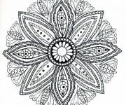 Free coloring and drawings Mandala Flowers Adult Drawing Coloring page