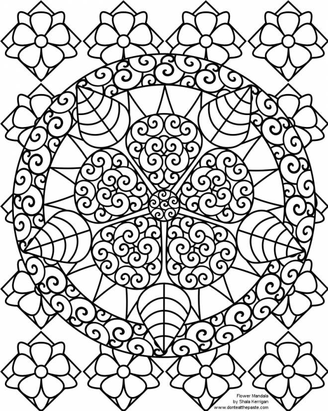 Free coloring and drawings Superb Flower Mandala Coloring page