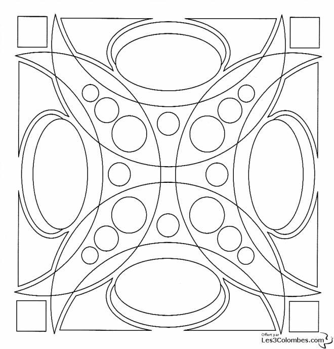 Free coloring and drawings 3D Mandala Online Coloring page