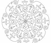 Coloring pages Flower Petal Mandala for Adults