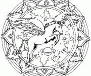 Free coloring and drawings Flying Horse Mandala Online Coloring page