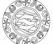 Coloring pages Mandala The Sea Online