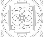 Free coloring and drawings Stylized Mandala Online Coloring page