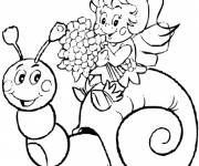 Coloring pages Maya bee on the snail