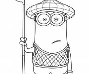 Coloring pages Minion Kevin plays golf