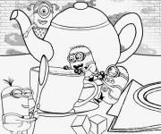 Coloring pages Minions on the Table
