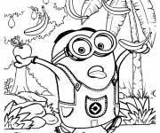Coloring pages Minion Stuart in The Forest