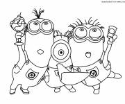 Coloring pages Minions and the party