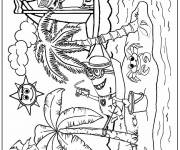 Coloring pages Minions on the beach