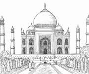 Coloring pages Taj Mahal Palace in India