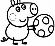 Coloring pages Peppa Pig and its Balloon color