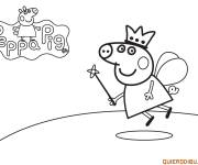 Coloring pages Peppa pig angel and flight