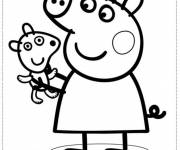Coloring pages Peppa Pig carries her little Dog