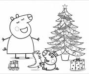 Coloring pages Peppa Pig christmas