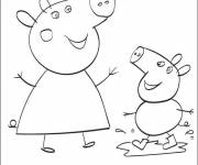 Coloring pages Peppa Pig has fun with his Mother