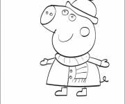 Coloring pages Peppa Pig in Winter