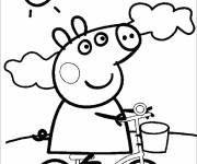 Coloring pages Peppa Pig outdoors