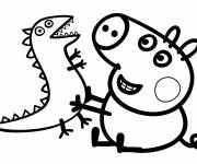 Coloring pages Peppa Pig wearing and its Plush