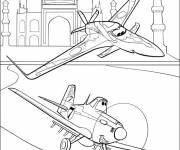Coloring pages Ishani and Dusty fly over the Taj Mahal