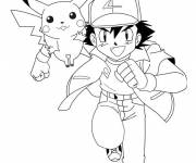 Coloring pages Pikachu and Sacha maternal