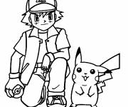 Coloring pages Sacha and his Pikachu Pokemon