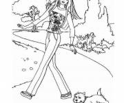 Coloring pages Barbie and her dog on a walk