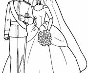 Coloring pages Barbie wedding in color