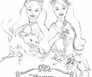 Coloring pages Barbies and their friends