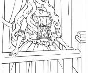 Coloring pages Princess Barbie at her window