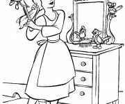 Coloring pages Cinderella brushes her hair