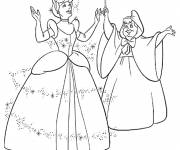 Coloring pages The fairy dresses Cinderella in a dress