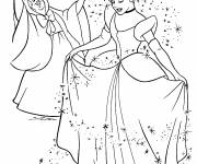 Coloring pages The Fairy Godmother transforms Cinderella