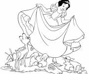 Coloring pages Snow White Princess and the Animals