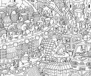 Coloring pages Psychedelic City