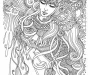 Coloring pages Psychedelic Woman
