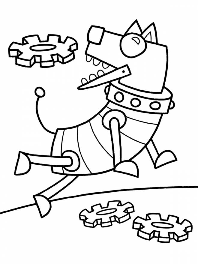 Free coloring and drawings A humorous Robot Dog Coloring page