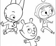 Coloring pages Samsam amused with Friends